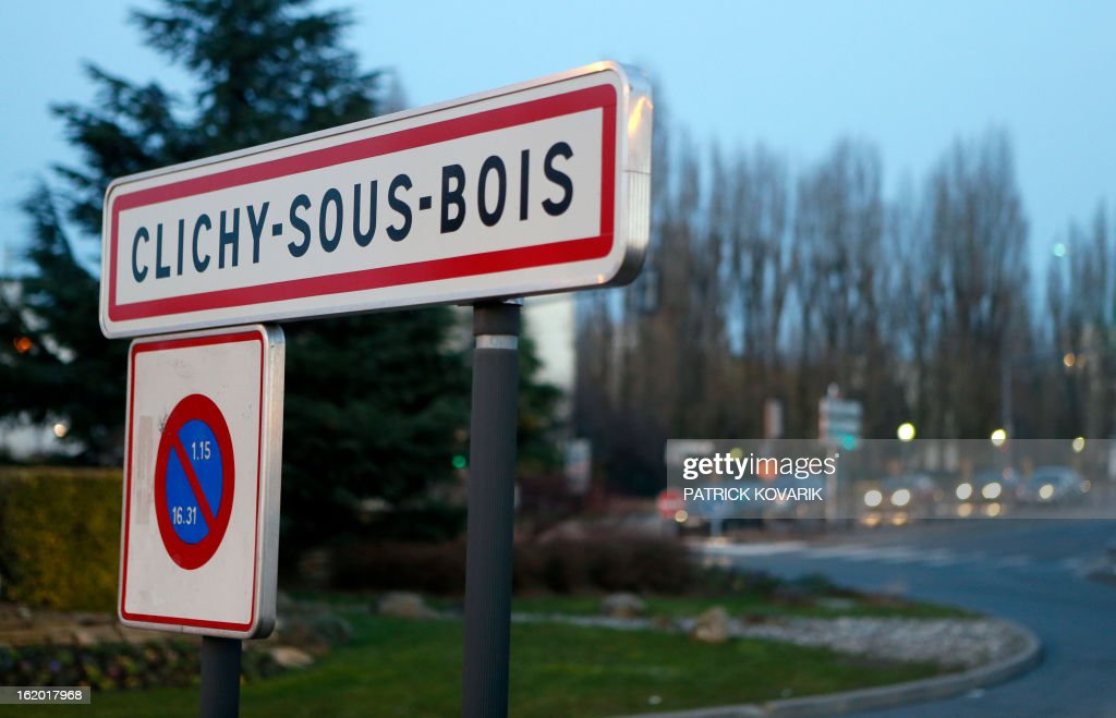 View taken of the entrance sign of Clichy-sous-Bois city, northern suburb of Paris, on February 18, 2013. AFP PHOTO / PATRICK KOVARIK