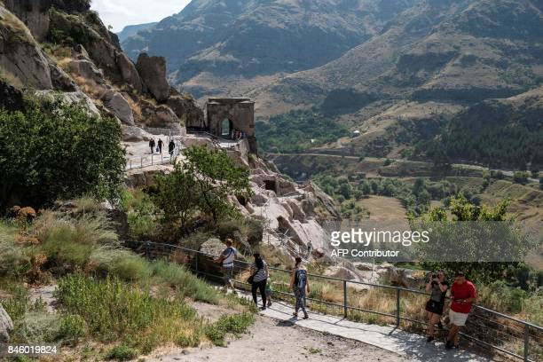 View taken on August 15 2017 of the cave monastery site of Vardzia in southern Georgia on August 15 2017 / AFP PHOTO / JOEL SAGET