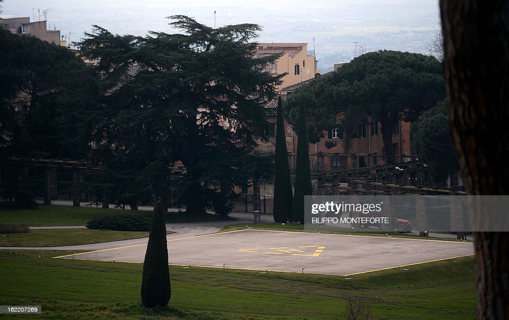 A view taken on February 20, 2013 shows the heliport in the gardens of the Apostolic Palace of Castel Gandolfo, Italy. Pope Benedict XVI will stay at the Vatican's summer residence from February 28 until the convent of Mater Ecclesiae (Mother of the Church) at the Vatican will be ready to host him. Pope Benedict XVI began a week-long spiritual retreat out of the public eye on February 18 ahead of his resignation on February 28 with the field of candidates to succeed him still wide open.