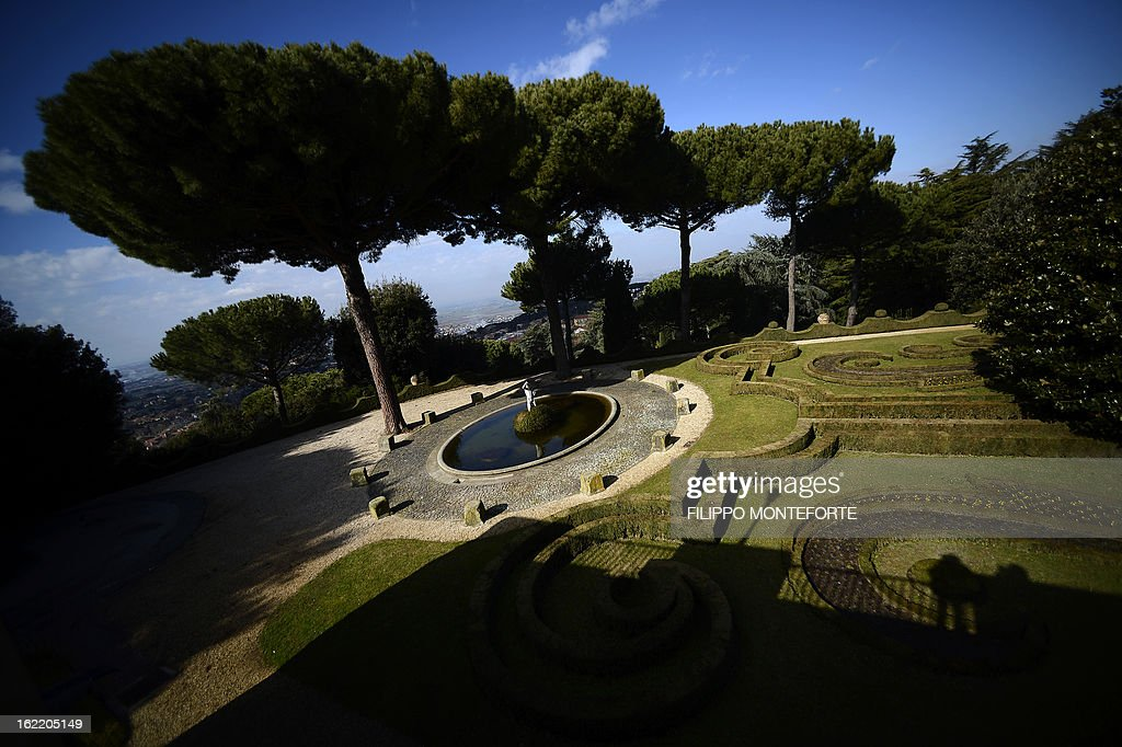 A view taken on February 20, 2013 shows the Pontiff's gardens of the Apostolic Palace of Castel Gandolfo, Italy. Pope Benedict XVI will stay at the Vatican's summer residence from February 28 until the convent of Mater Ecclesiae (Mother of the Church) at the Vatican will be ready to host him. Pope Benedict XVI began a week-long spiritual retreat out of the public eye on February 18 ahead of his resignation on February 28 with the field of candidates to succeed him still wide open AFP PHOTO / FILIPPO MONTEFORTE