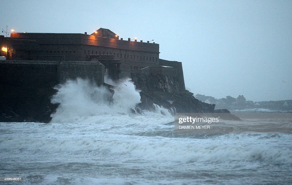 A view taken on January 1 2014 in Quiberon Brittany as seven rivers in western France were placed under flood warning due to heavy rains in the...