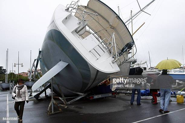 View taken on January 25 2009 shows destroyed boats in the French southwestern harbour of Hendaye a day after a storm the worst to hit France since...