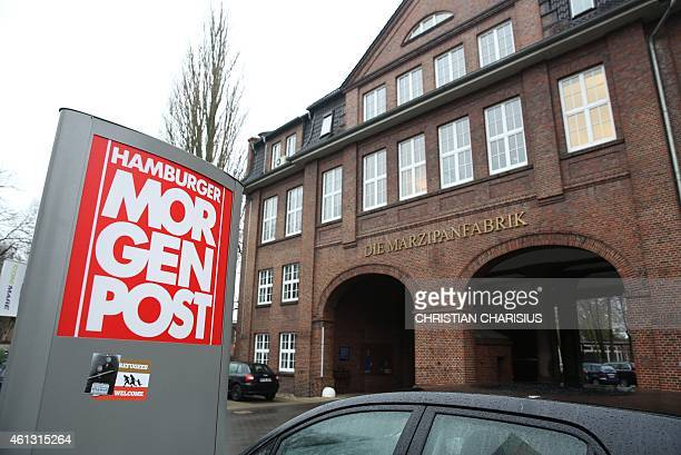 A view taken on January 8 2015 shows the entrance of German regional newspaper Hamburger Morgenpost editorial office in Hamburg northern Germany The...
