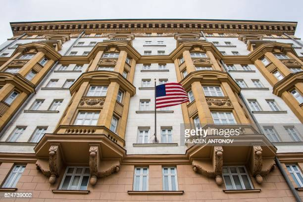 A view taken on July 31 2017 shows the US embassy building in Moscow President Vladimir Putin on July 30 2017 said the United States would have to...