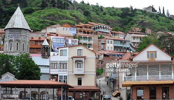 View taken on May 12 2010 shows houses in old Tbilisi Restoration works are under way in the area to protect the cultural heritage of Tbilisi AFP...