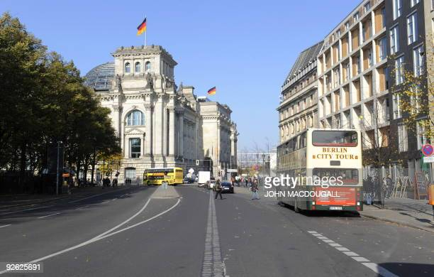 View taken on October 20 2009 shows the German Reichstag building housing the Bundestag the German lower house of parliament and in the middle the...