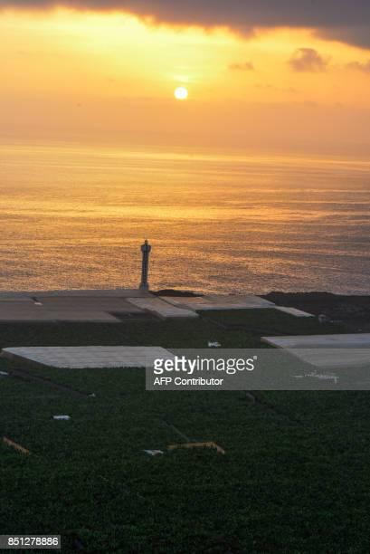 View taken on September 14 2017 of a banana plantation farm near the lighthouse of La Bombilla close to Tazacorte on the Canary Island of La Palma /...