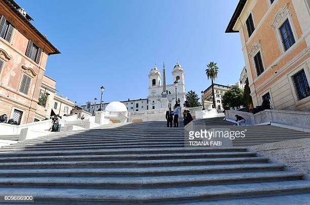 View taken on September 22 shows the restored Spanish Steps prior a joint news conference with Bulgari's CEO and Rome's mayor Rome's Spanish Steps...