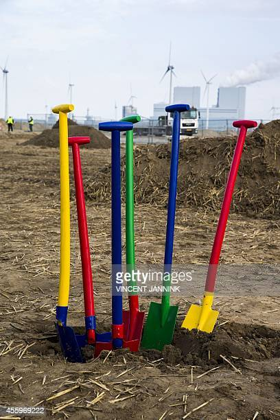 View taken on September 23 2014 shows shovels in the colors of Google's logo in Eemshaven where US technology company will invest in a new gigantic...