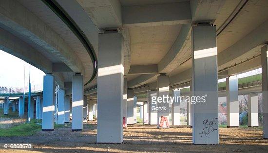 View the concrete bridge for transportation : Stock Photo