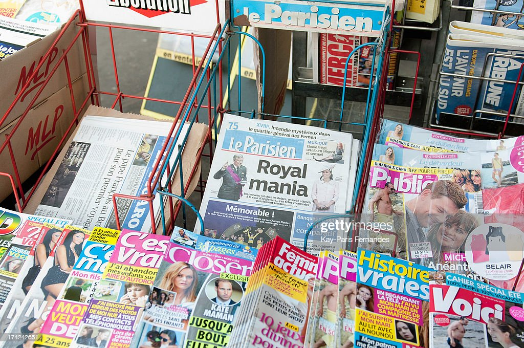 A view the front pages of the French National Newspapers as they wait for the birth of the new British Royal Baby on July 22, 2013 in Paris, France.