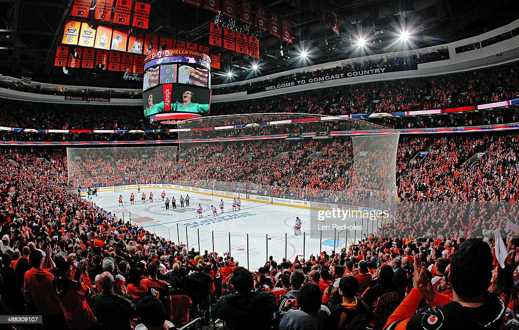 A view the National Anthem in Game Six of the First Round of the 2014 Stanley Cup Playoffs between the Philadelphia Flyers and the New York Rangers...