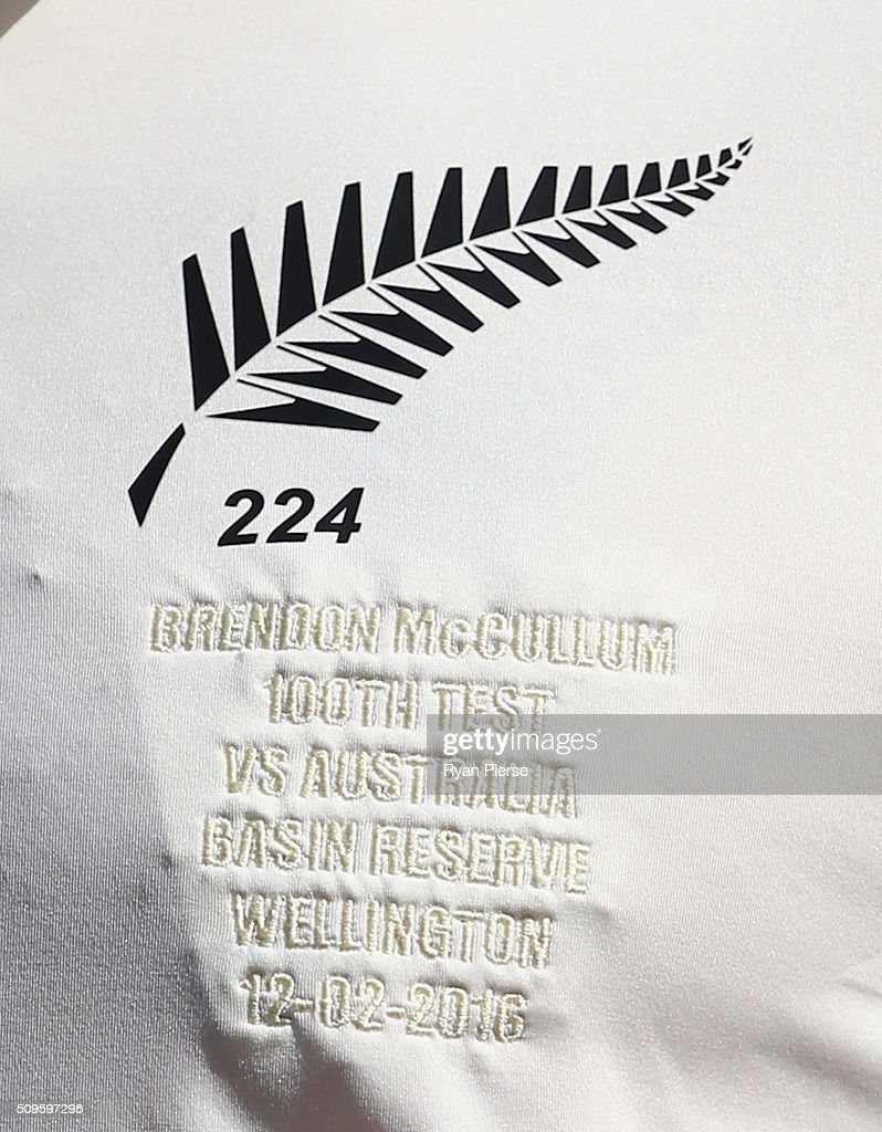 A view the shirt of <a gi-track='captionPersonalityLinkClicked' href=/galleries/search?phrase=Brendon+McCullum&family=editorial&specificpeople=208154 ng-click='$event.stopPropagation()'>Brendon McCullum</a> of New Zealand before his 100th Test during day one of the Test match between New Zealand and Australia at Basin Reserve on February 12, 2016 in Wellington, New Zealand.
