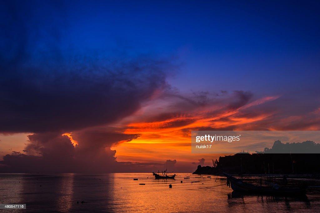 View the sun during the rainy season. : Stock Photo