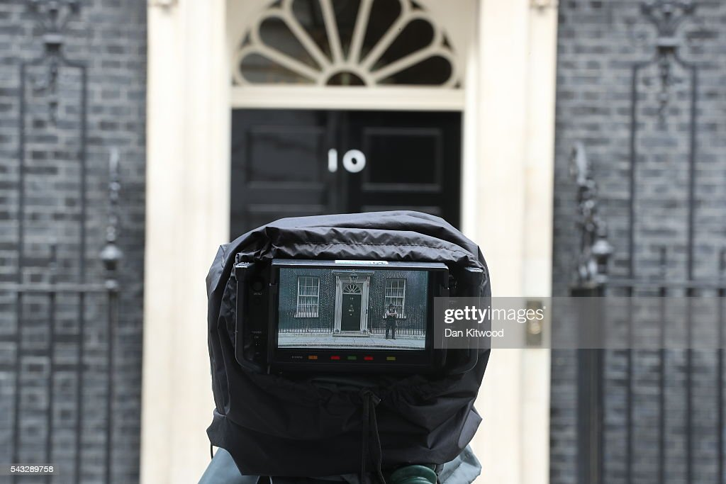 A view through a camera which is focused on the front door of number 10 Downing Street following a cabinet meeting on June 27, 2016 in London, England. British Prime Minister David Cameron chaired an emergency Cabinet meeting this morning, after Britain voted to leave the European Union. Chancellor George Osborne spoke at a press conference ahead of the start of financial trading and outlining how the Government will 'protect the national interest' after the UK voted to leave the EU.