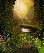 3D rendering of a view through an enchanted dark forest and a pond.
