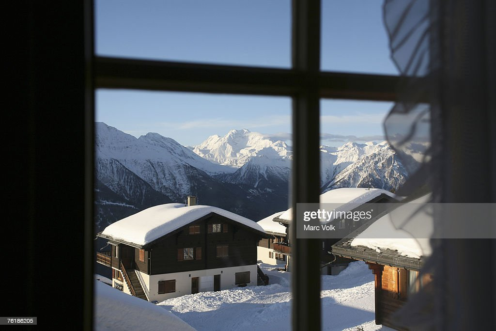 View through a window of a ski resort