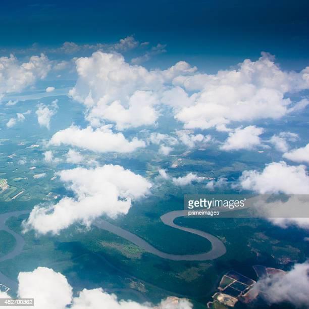 View through an airplane window