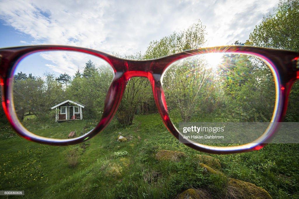 View through glasses