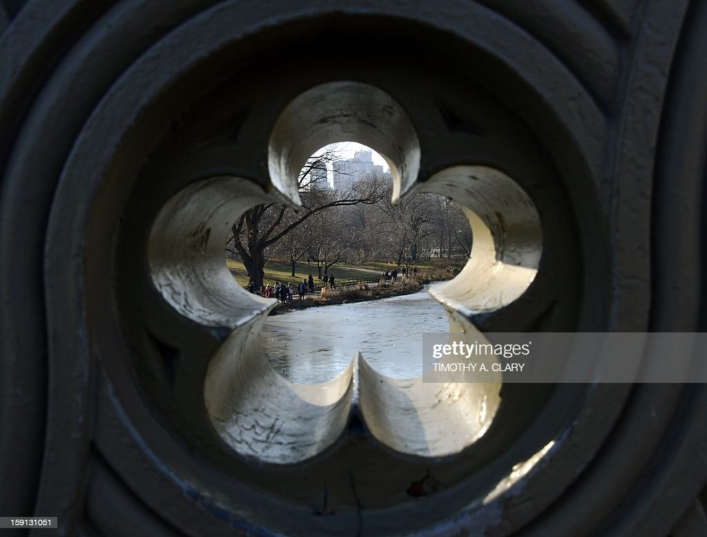 A view through one of the portals in the Bow Bridge in central park as New Yorkers and tourists take advantage of the unusually warm weather for winter in the city on January 8, 2013. Temperatures are expected to reach the upper 50's over the weekend.