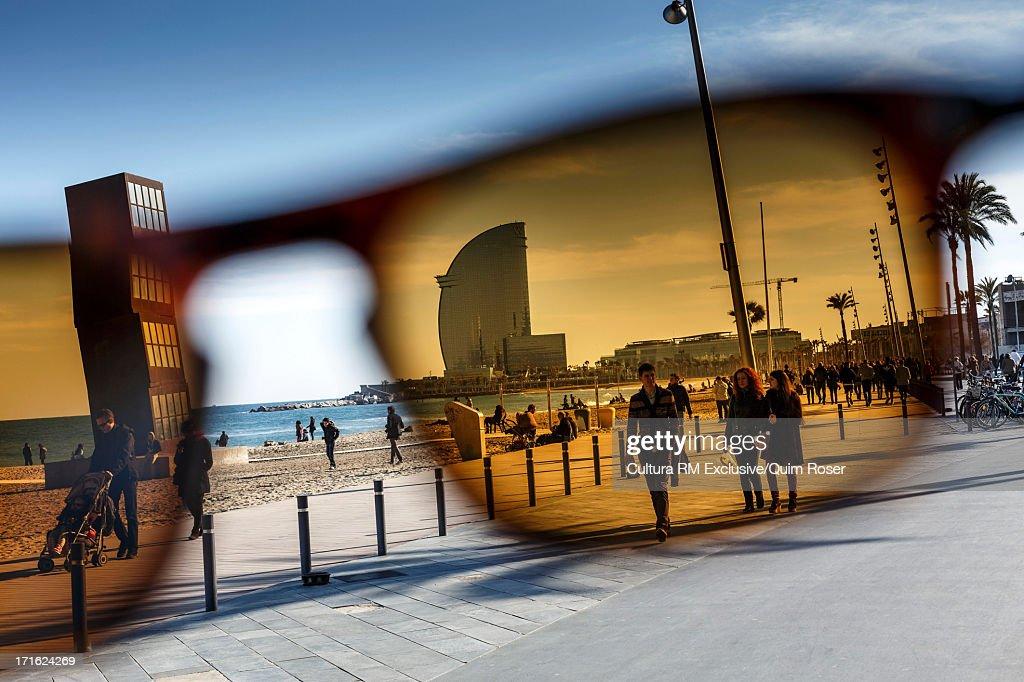View through sunglasses to Hotel Vela, Barcelona, Spain
