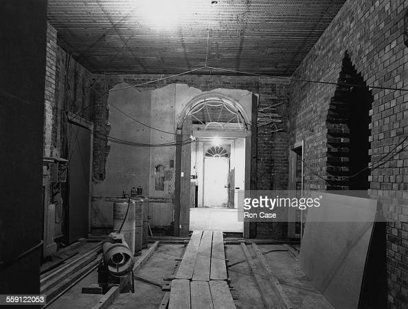 A view through the entrance hall of the British Prime Minister's residence at 10 Downing Street towards the front door during a press view of...