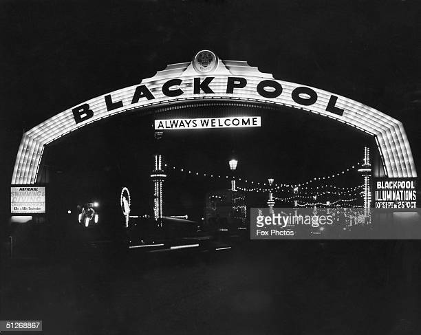A view through the new Welcome Arch on Blackpool promenade a week after Gilbert Harding inaugurated the year's illuminations 17th September 1954