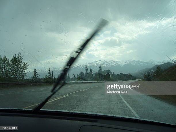 View through windscreen of stormy weather