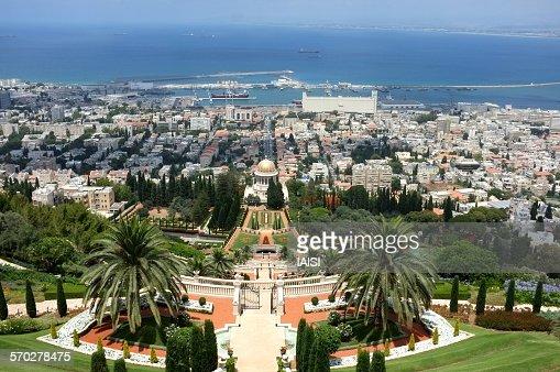 A view to Haifa bay and Baha'i gardens
