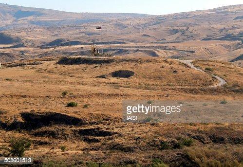 A view to Jordan, seen from Naharaim : Stock Photo