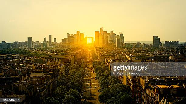 View to La Defense from Arc of Triumph in Paris
