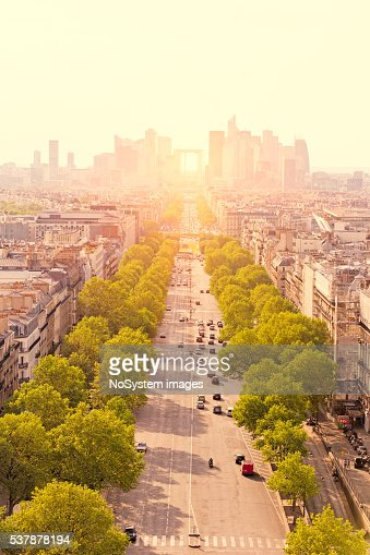 View to La Défense from Arc of Triumph in Paris