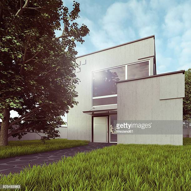 View to modern detached one-family house, 3D Rendering