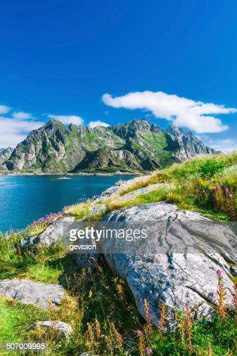 View to mountains in lofoten henningsvaer norway stock photo getty images - The house on the rock the ultimate refuge in a norwegian fjord ...