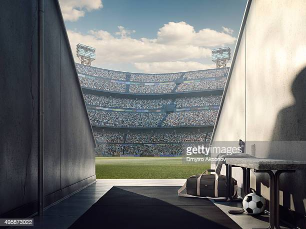 Blick auf das Fußballstadion von Spielern zone