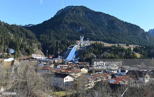 View to the jumping area of Oberstdorf southern Germany ahead the start of the qualification for the FourHills Ski Jumping tournament on December 28...