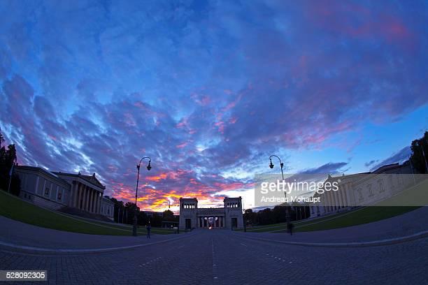 View to the Koenigsplatz with epic sunset