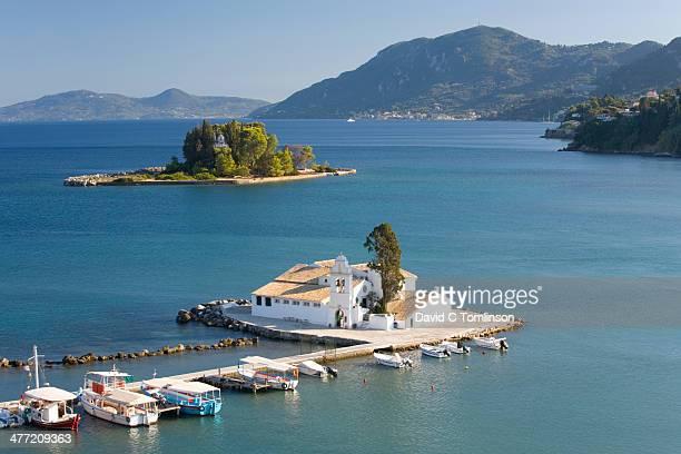 View to Vlacherna Monastery, Kanoni, Corfu
