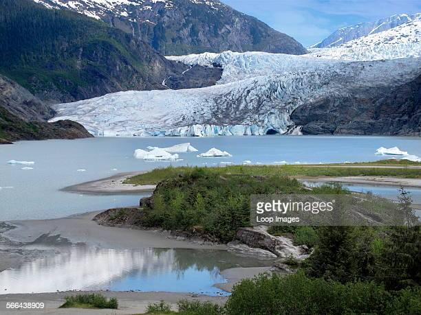 A view toward the Mendenhall Glacier in Alaska