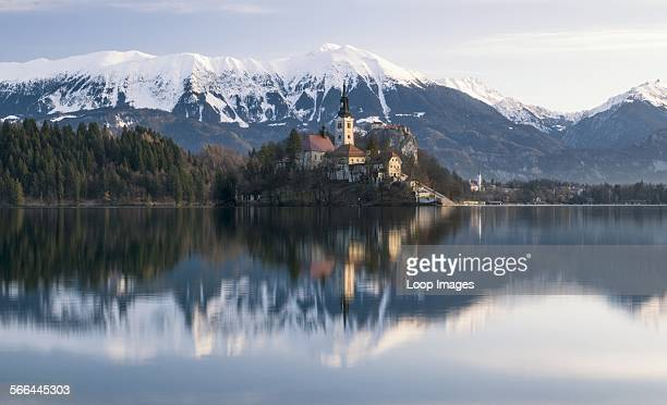 View towards Lake Bled in Slovenia at dawn showing Bled Island and the Pilgrimage Church of the Assumption of Mary with the Julian Alps in the...