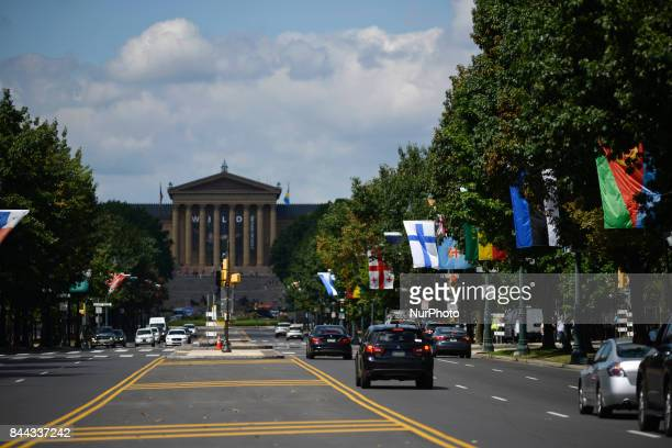 View towards Philadelphia Museum of Art and the Rocky Steps as the Parkway100 centennial celebration kicks off at the Benjamin Franklin Parkway in...
