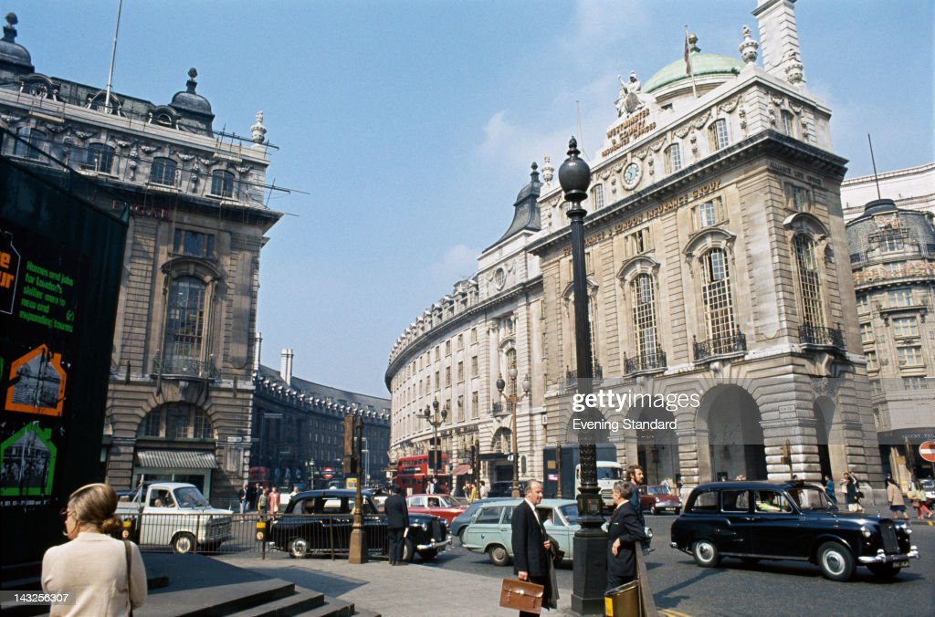 A view towards Regent Street from Piccadilly Circus London circa 1970