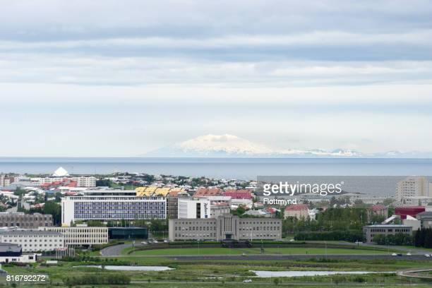 View towards Snæfellsjökull, as seen from Perlan, Reykjavik