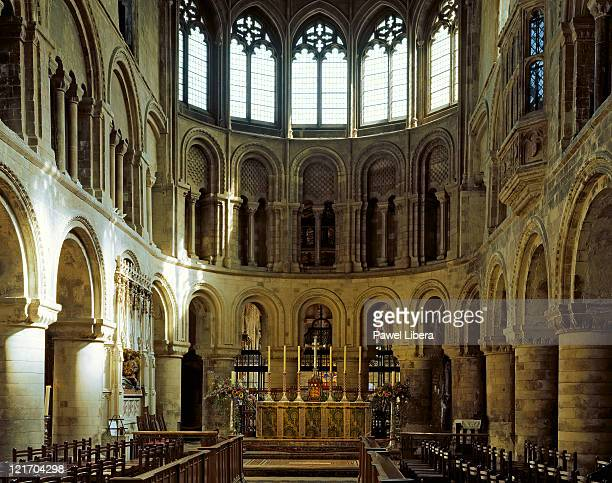View towards the altar inside the Church of Saint Bartholomew the Great, at West Smithfield in the City of London, dating back to 1123 it is one of the Capital's oldest Churches