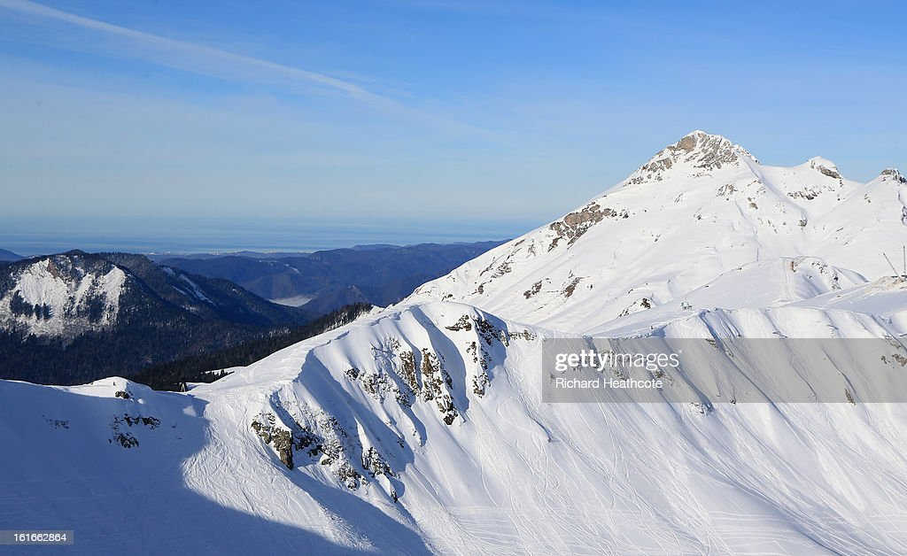 A view towards the Black Sea and the city of Sochi from the peak at the Rosa Khutor Alpine Ski Resort in Krasnaya Polyana on February 14, 2013 in Sochi, Russia. Sochi is preparing for the 2014 Winter Olympics with test events across the venues.