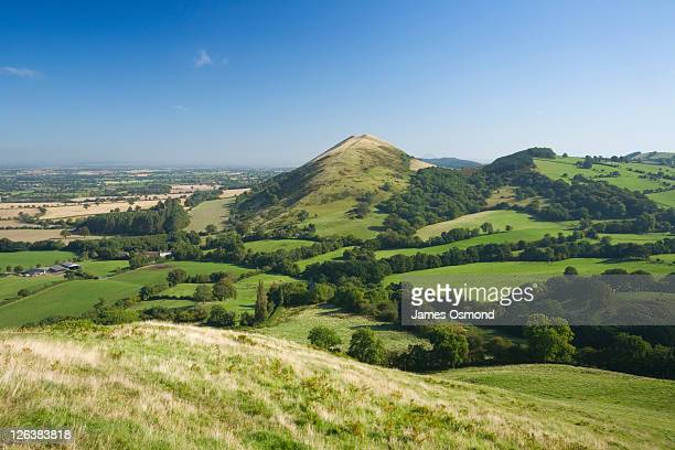 View towards The Lawley from Caer Caradoc Hill, Shropshire, England, UK
