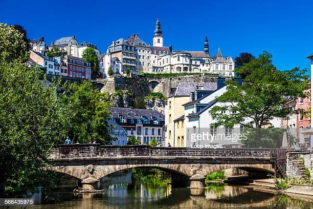 View towards the medieval Ville Haute from the River Alzette in the Grund district of Luxembourg City