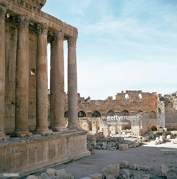 A view towards the temple precinct of Baalbek the ancient Heliopolis which rose to prominence during the later Hellenistic and Roman period The...