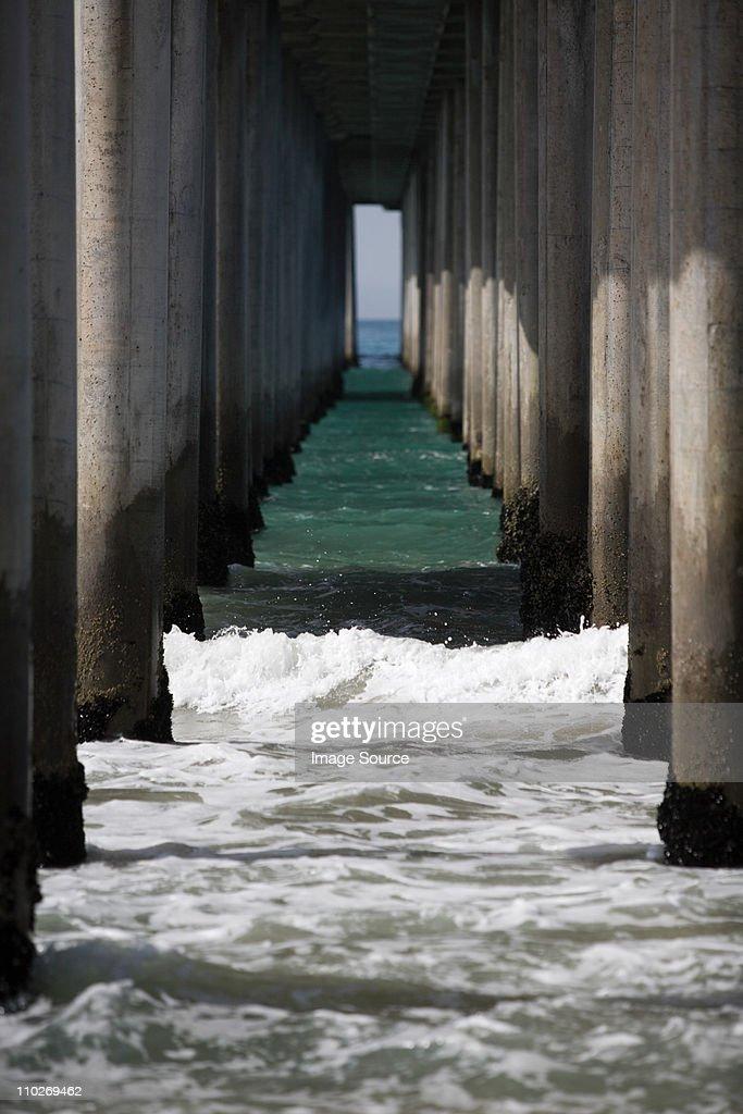 View underneath pier : Stock Photo