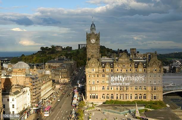 View up Princes Street in Edinburgh, Scotland